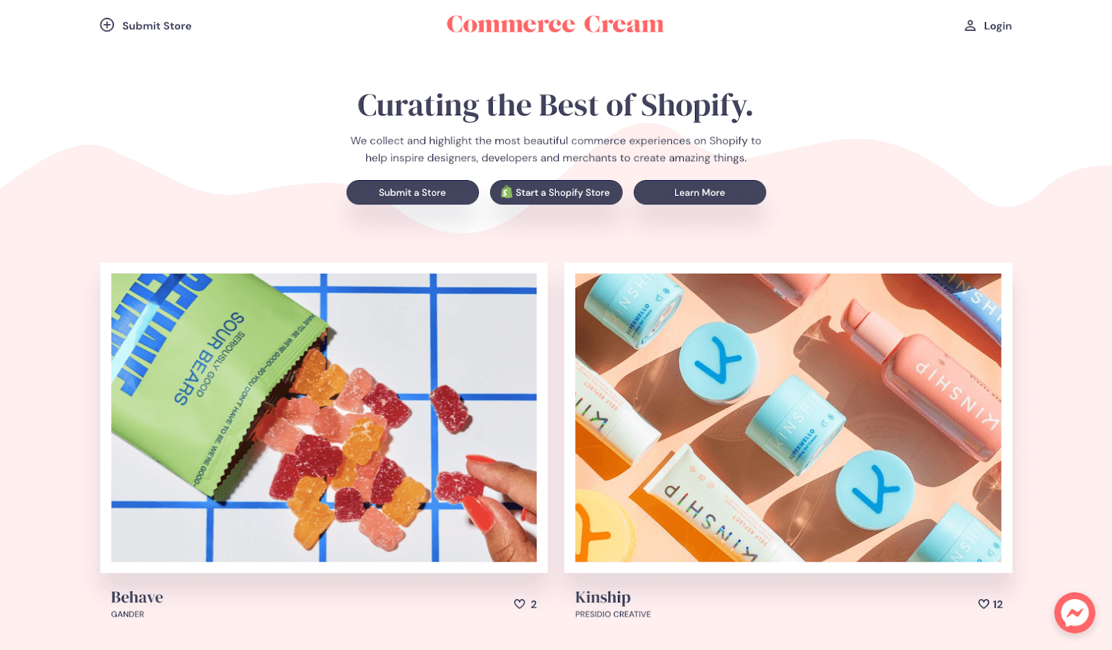 Screenshot of Commerce Cream homepage