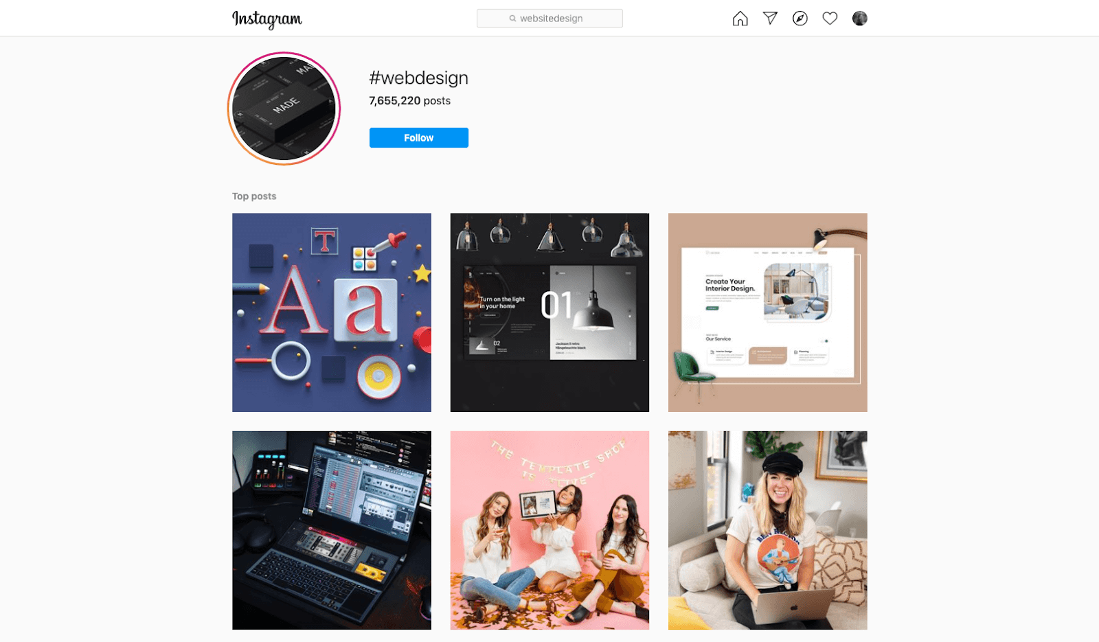 Screenshot of Instagram #webdesign hashtag page