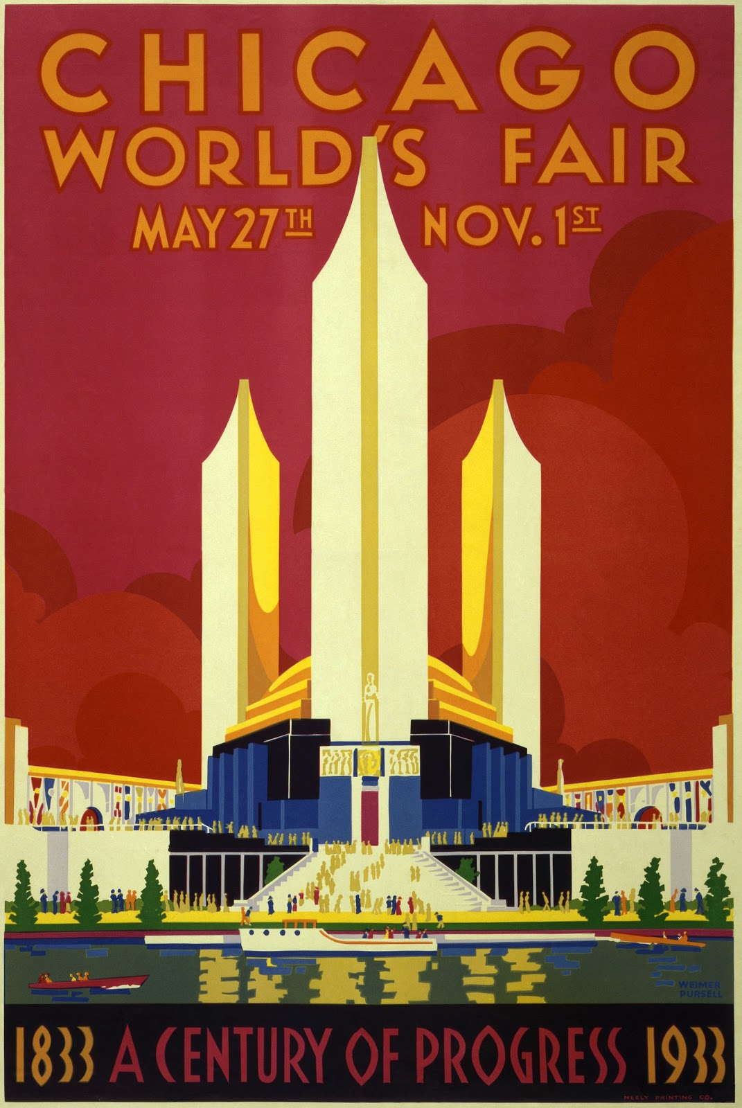 Chicago World's Fair poster by Weimer Pursell (1933)