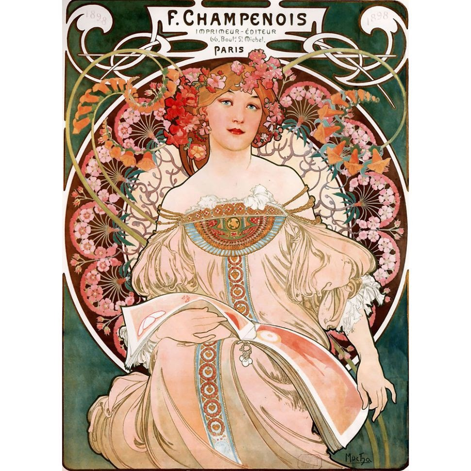 Art Nouveau artwork by Alphonse Mucha, used to promote printing firm F. Champenois