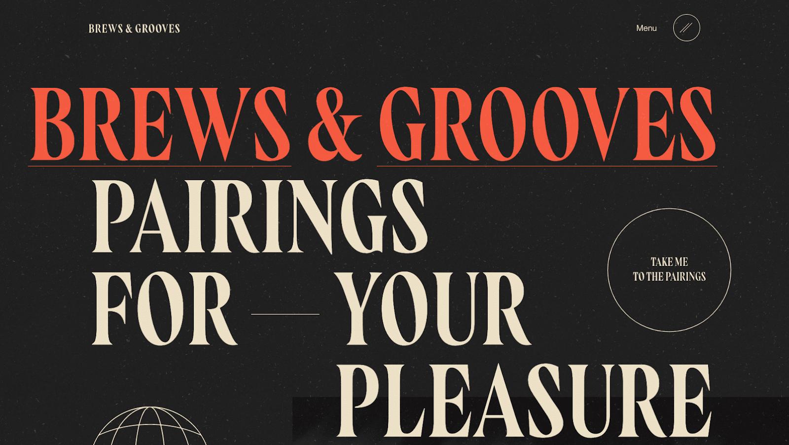 Brews & Grooves websites hero section