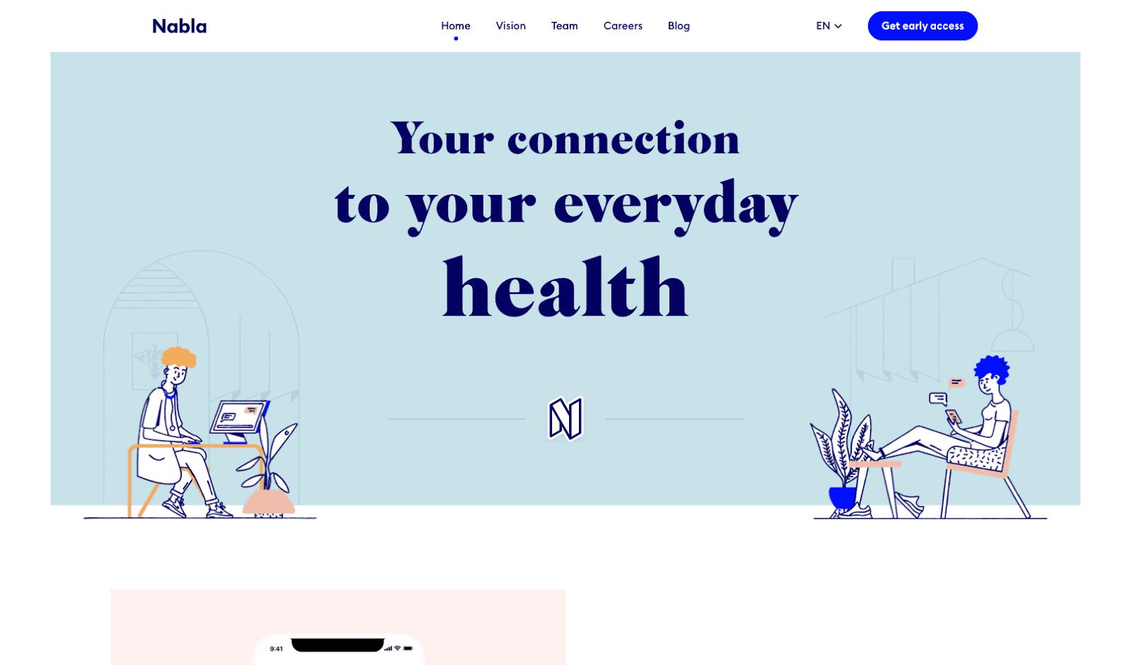 Nabla website hero section