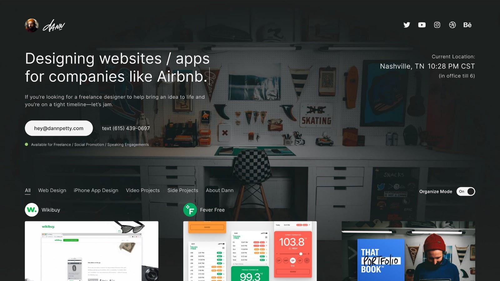 Example of a design portfolio website, by Dann Petty