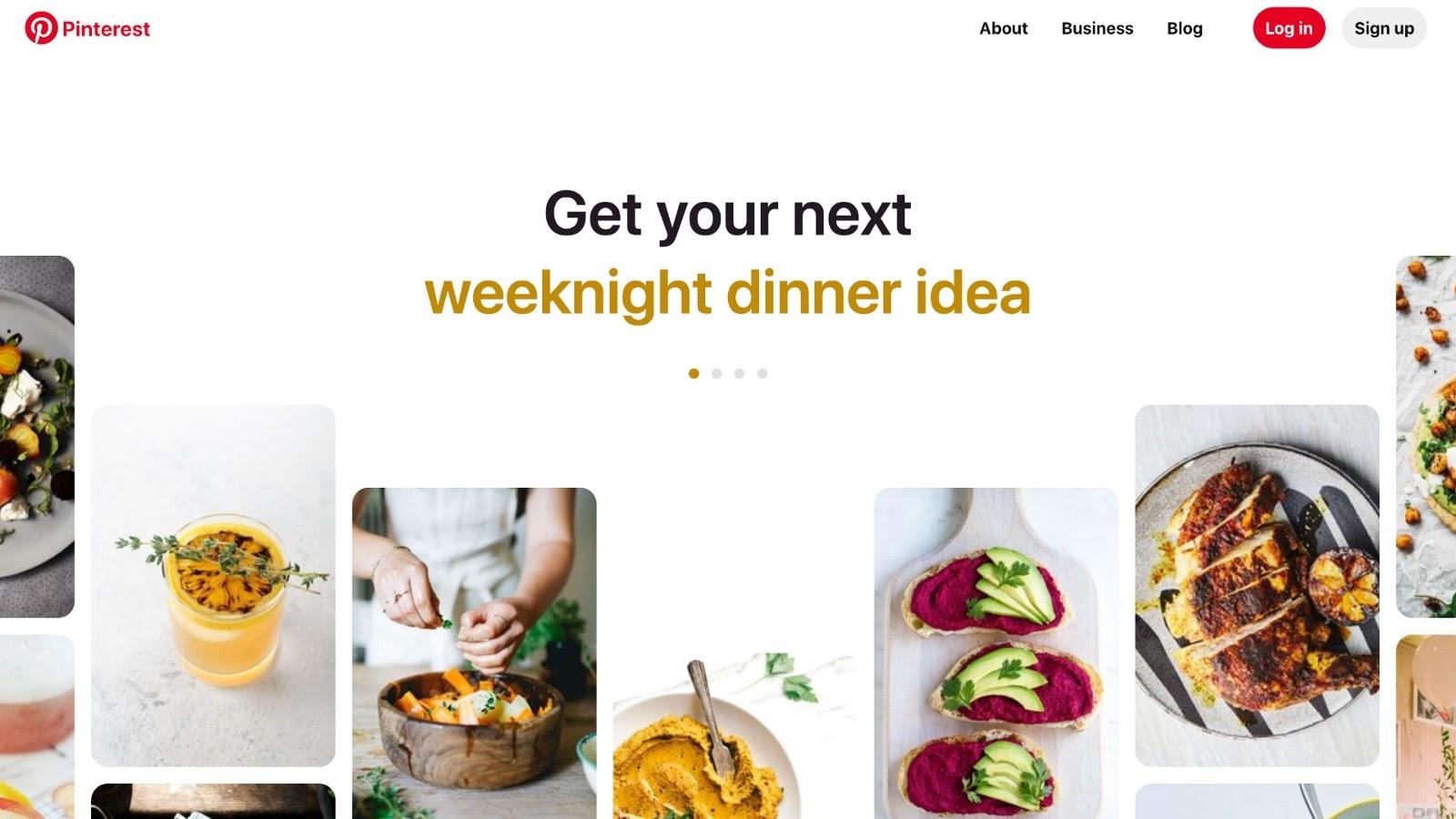 Example of a social media website (Pinterest.com)