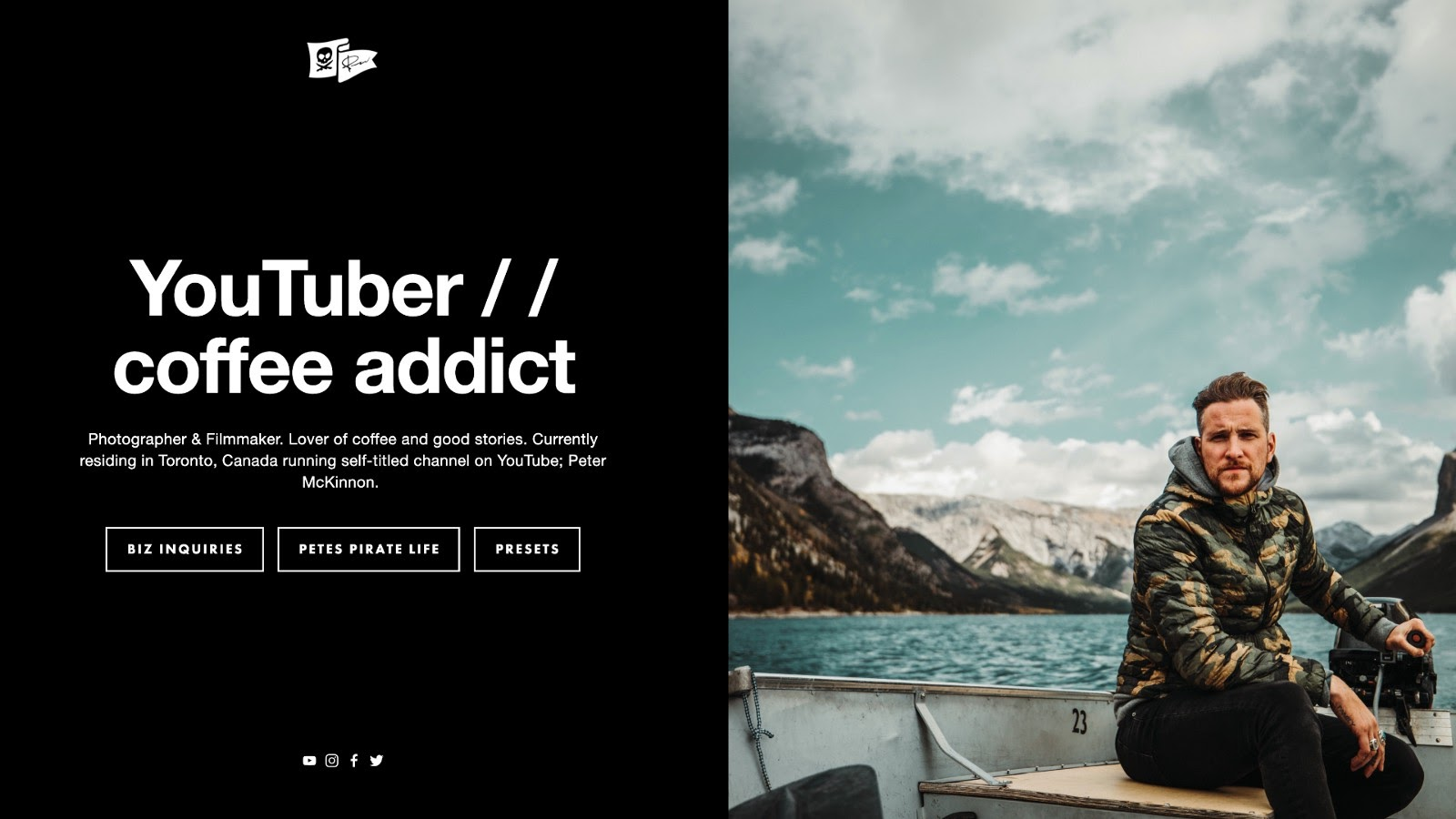 Example of a simple one-page personal website, by Peter McKinnon)