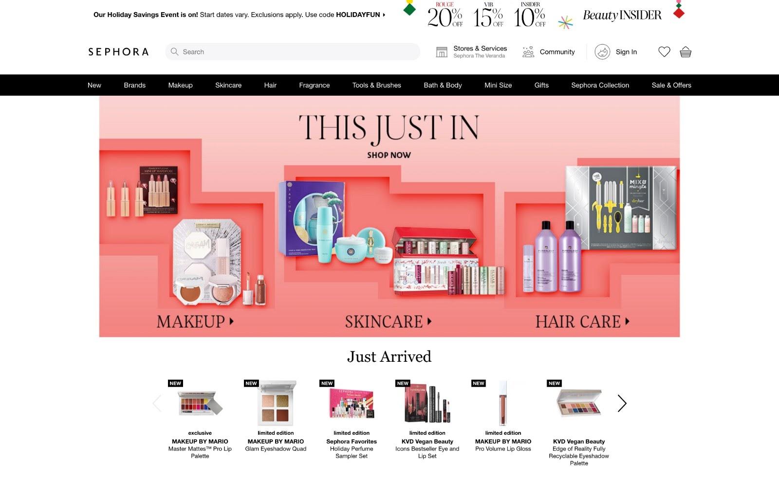 Example of an eCommerce website (sephora.com)