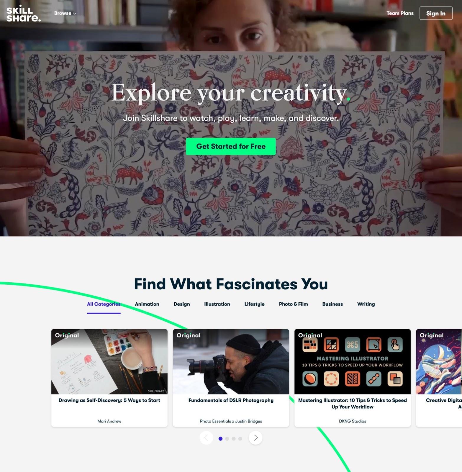 Example of a membership website (Skillshare.com)