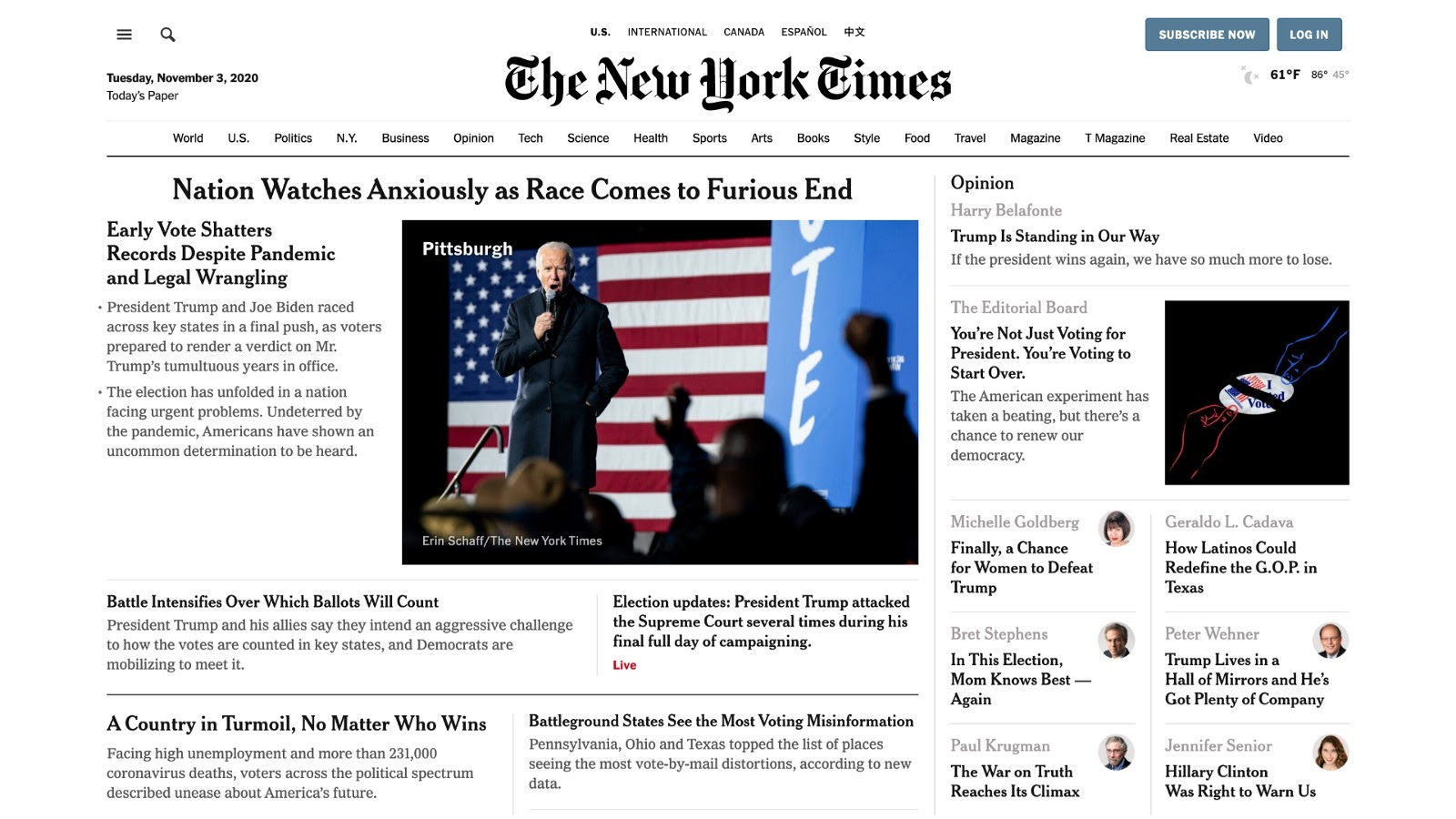 Example of a news website (The New York Times)