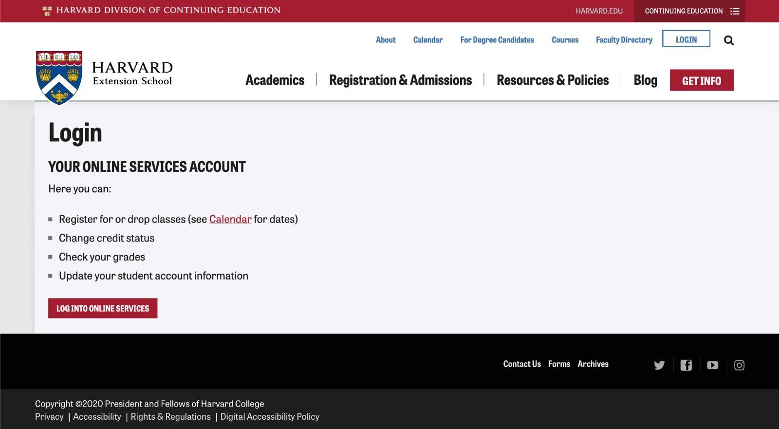 Example of a web portal login for Harvard University