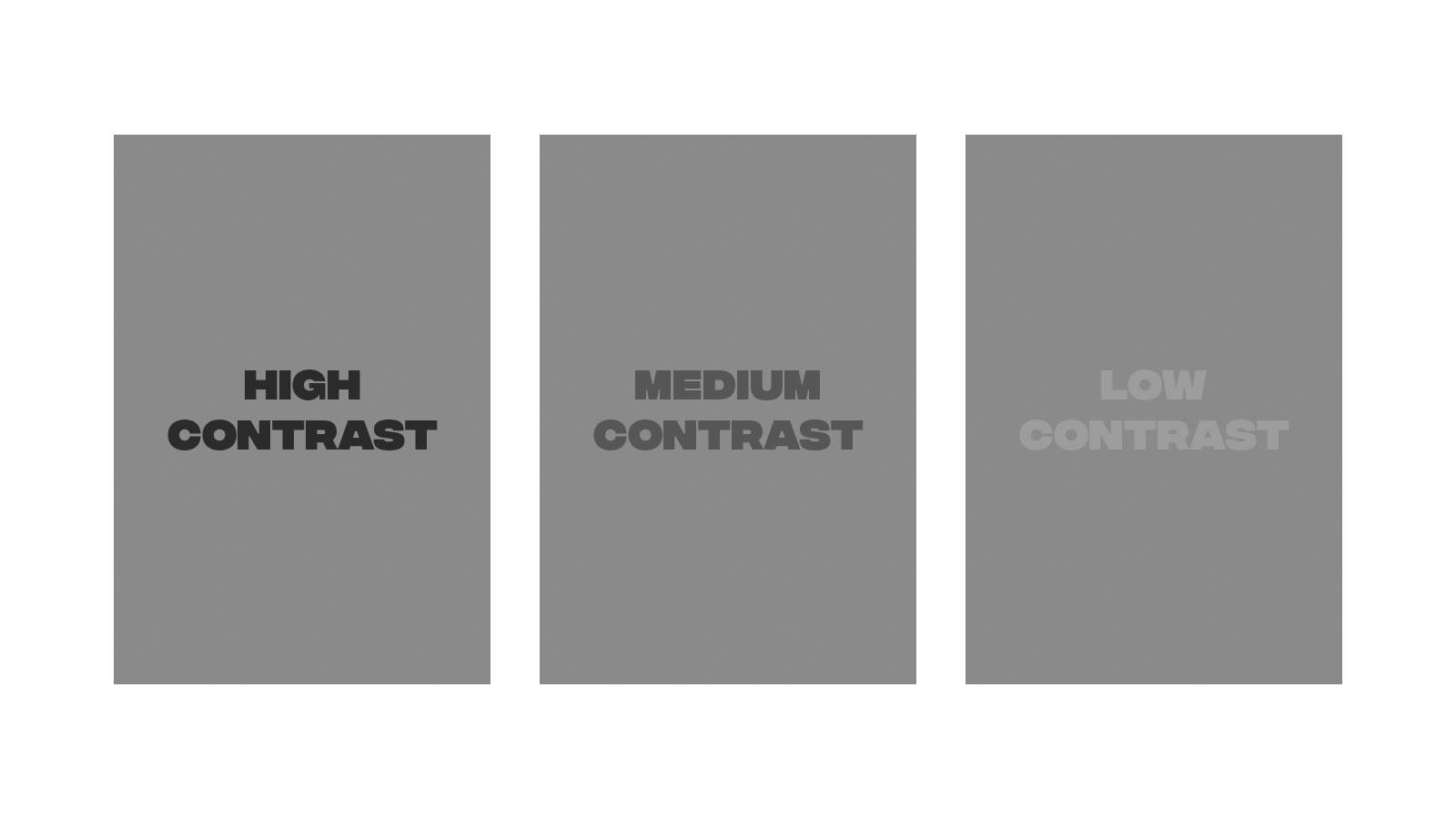 graphic comparing high vs medium vs low contrast