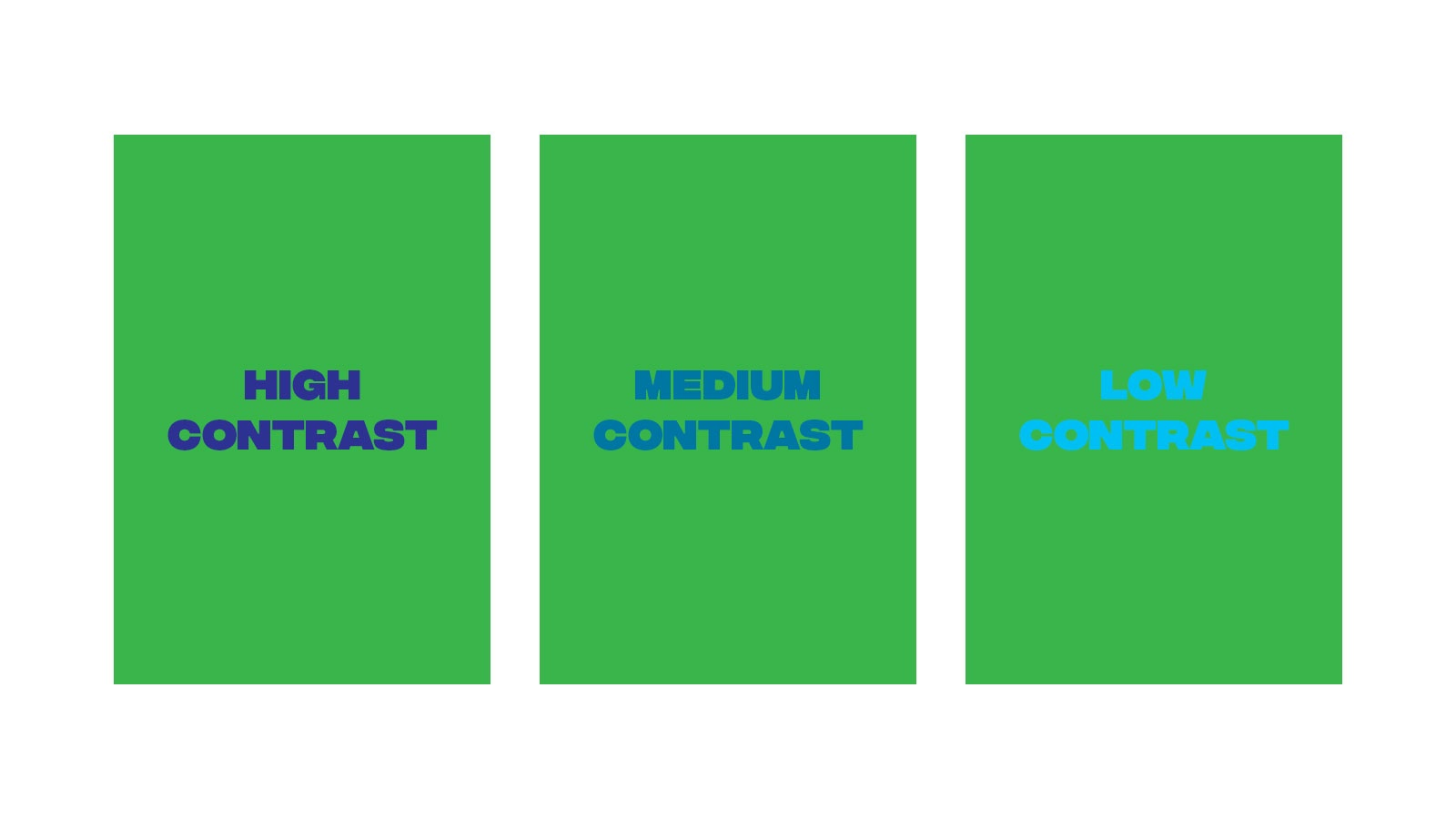 3 green backgrounds with varying blue foreground text to show high vs medium vs low contrast
