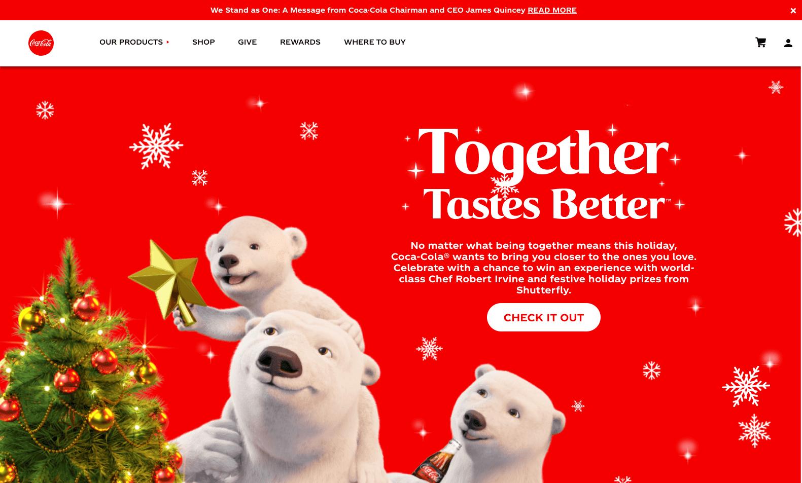 Coca cola webpage screenshot