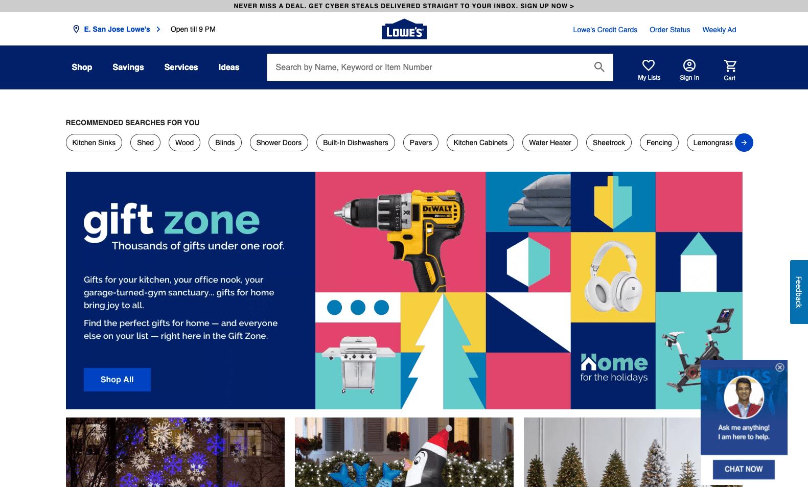 Lowe's webpage