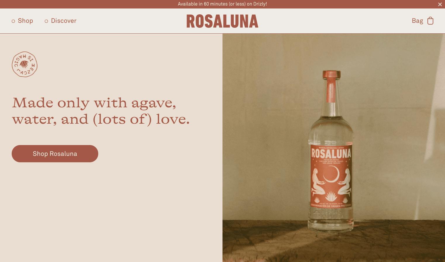 Rosaluna webpage screenshot
