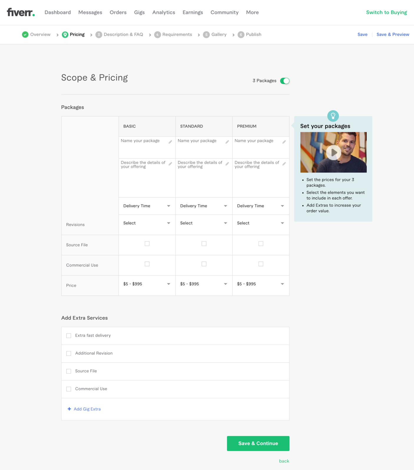 Step 2 in creating a gig on Fiverr. Choose scope, pricing, and extra services.