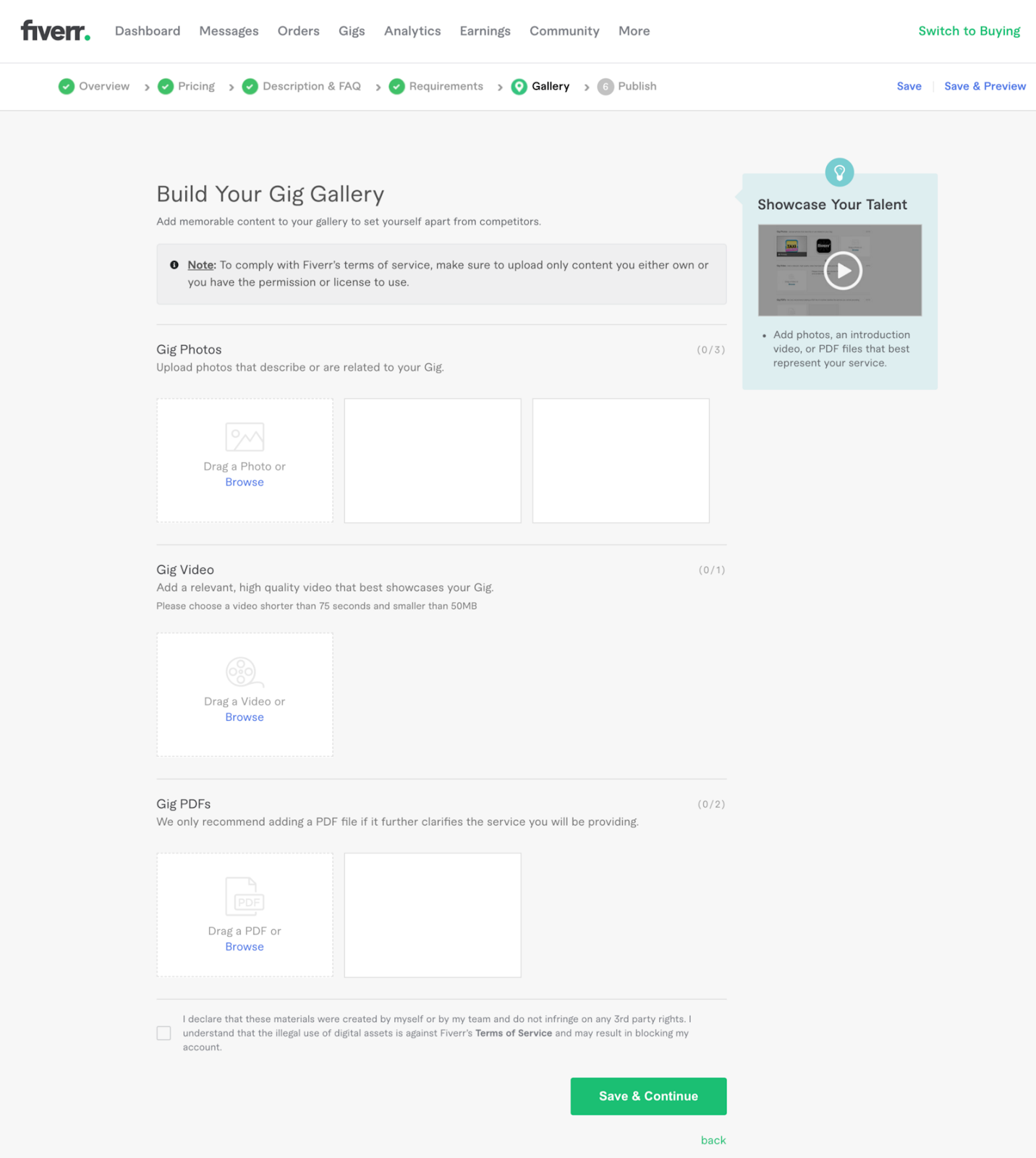Step 5 in creating a gig on Fiverr. Build your gig gallery.