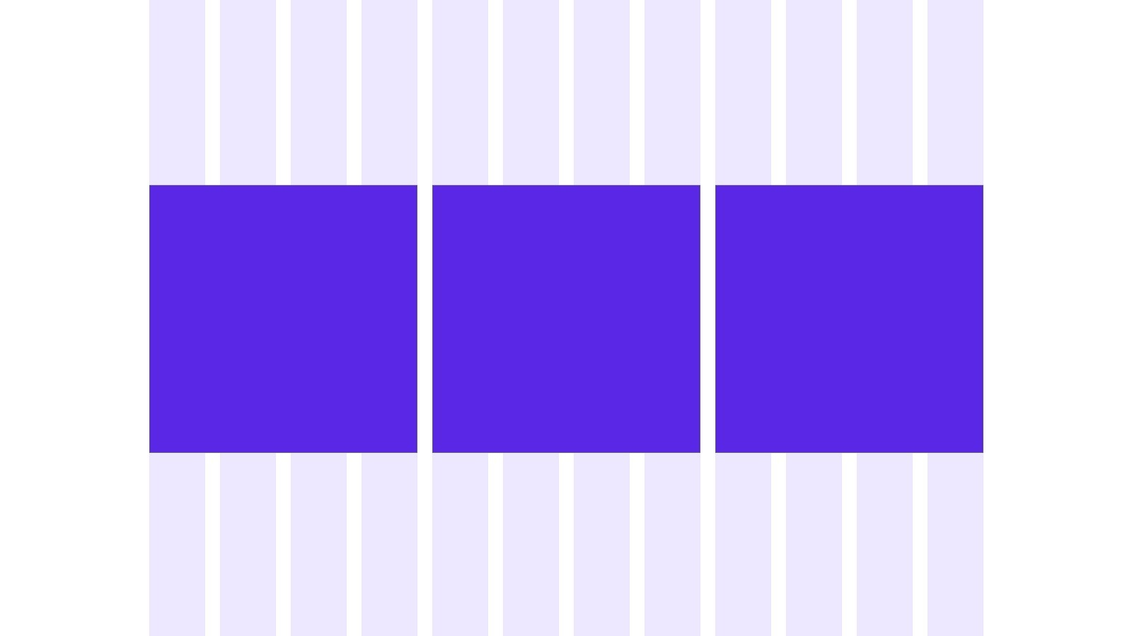 Example of elements placed on a 12 column grid