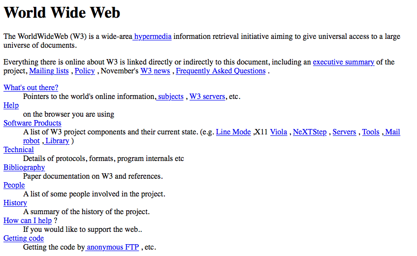 World Wide Web project, the first published website from 1991