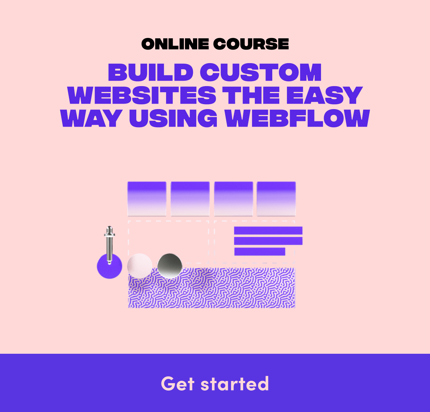 """A graphic promoting a website building course called """"The Webflow Masterclass"""""""