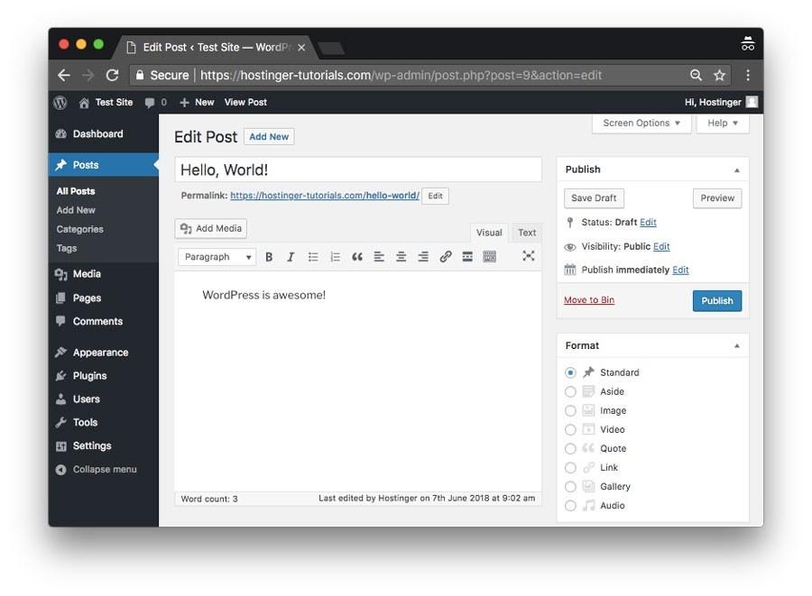 Example of WordPress CMS dashboard (source: Hostinger)