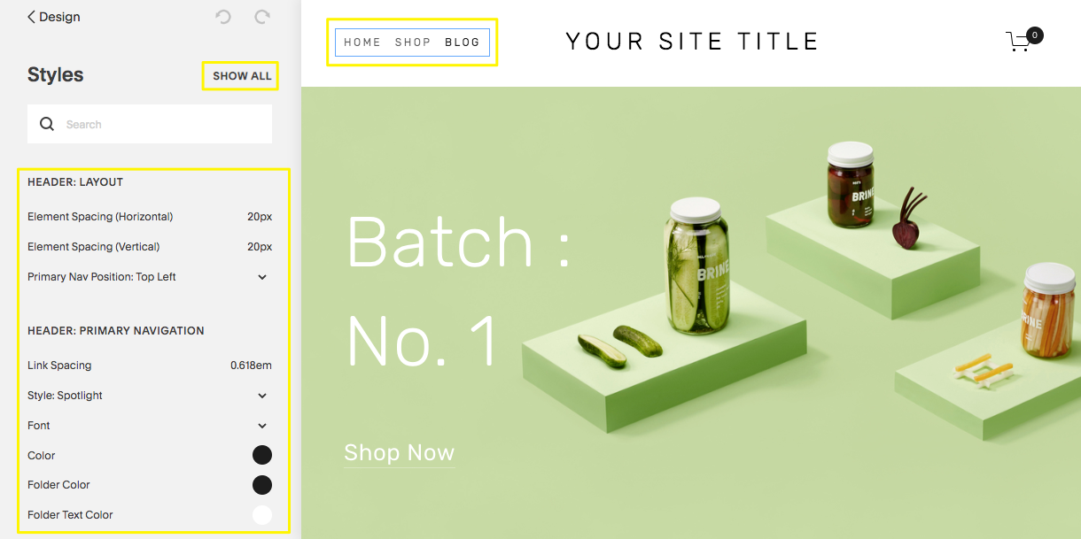 Example of Squarespace editor