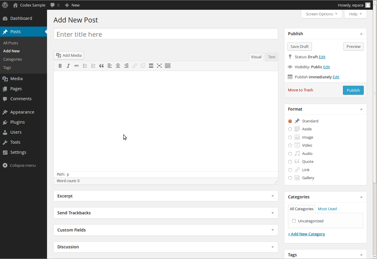 The backend user interface of WordPress CMS