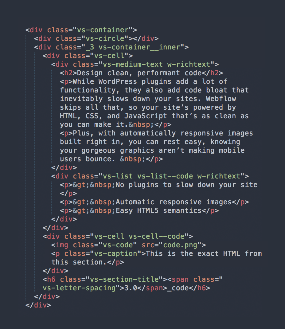 Example of code generated from Webflow (source: Webflow)