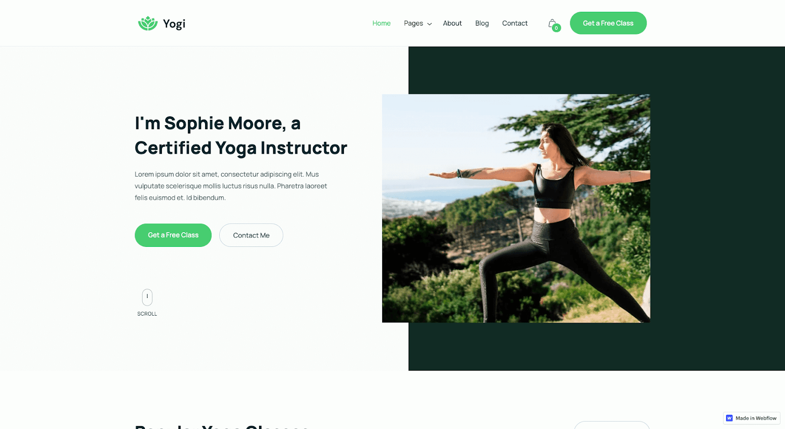 Yogi Webflow template