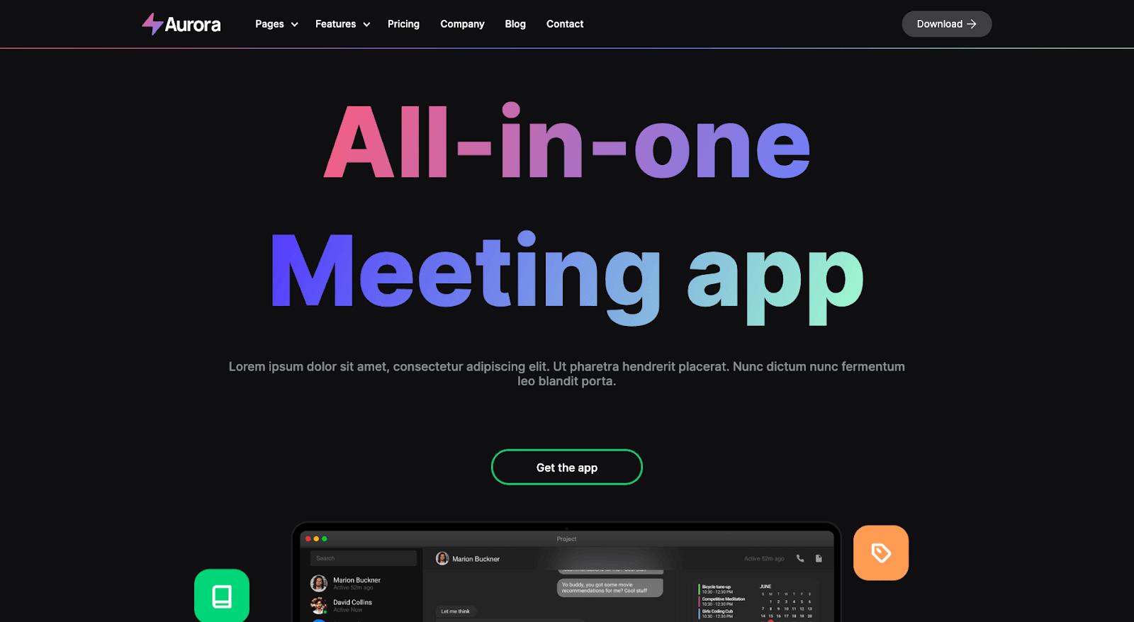 Aurora Webflow template