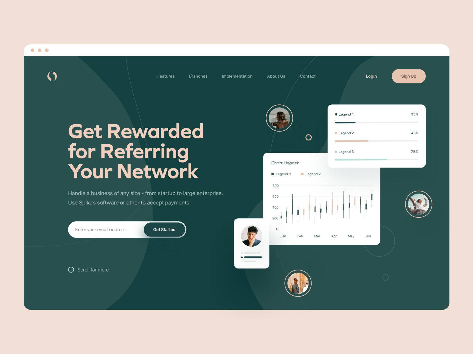 Landing page design by Can Tek on Dribble