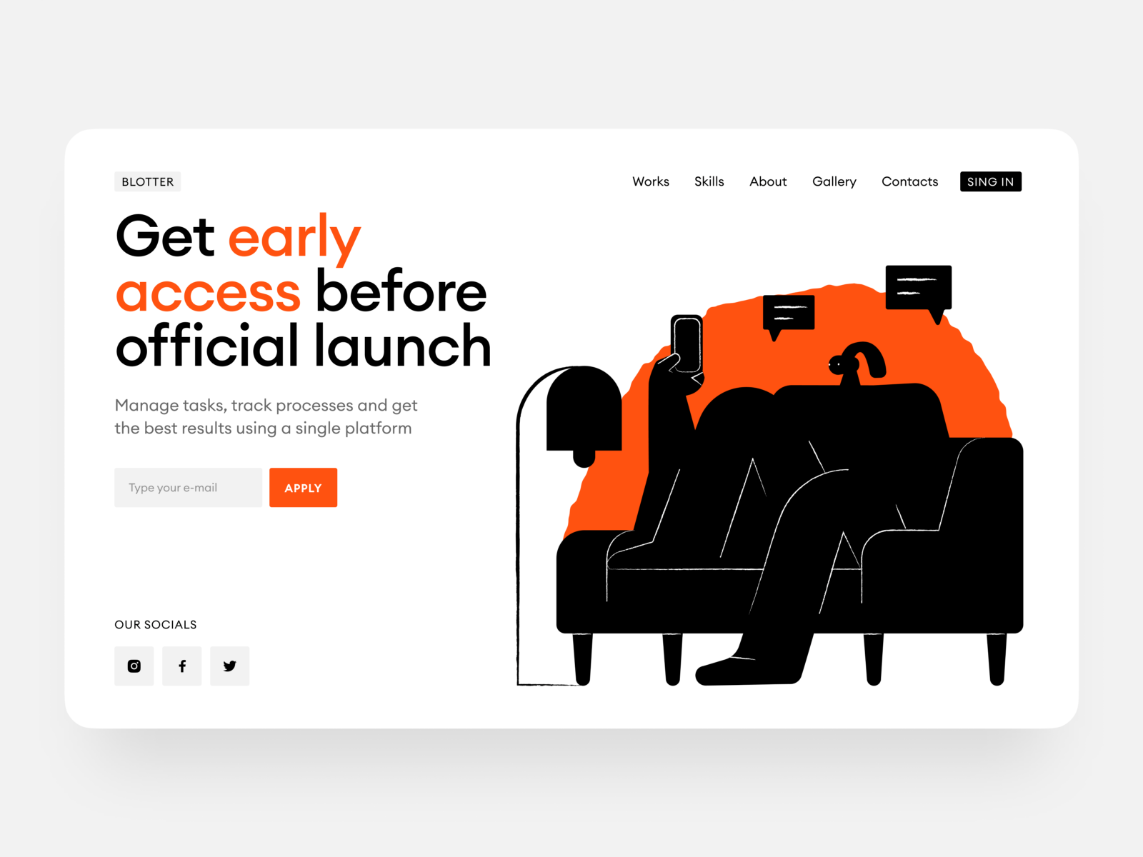 Example of contrast in web design (Design by Craft Studio on Dribbble)