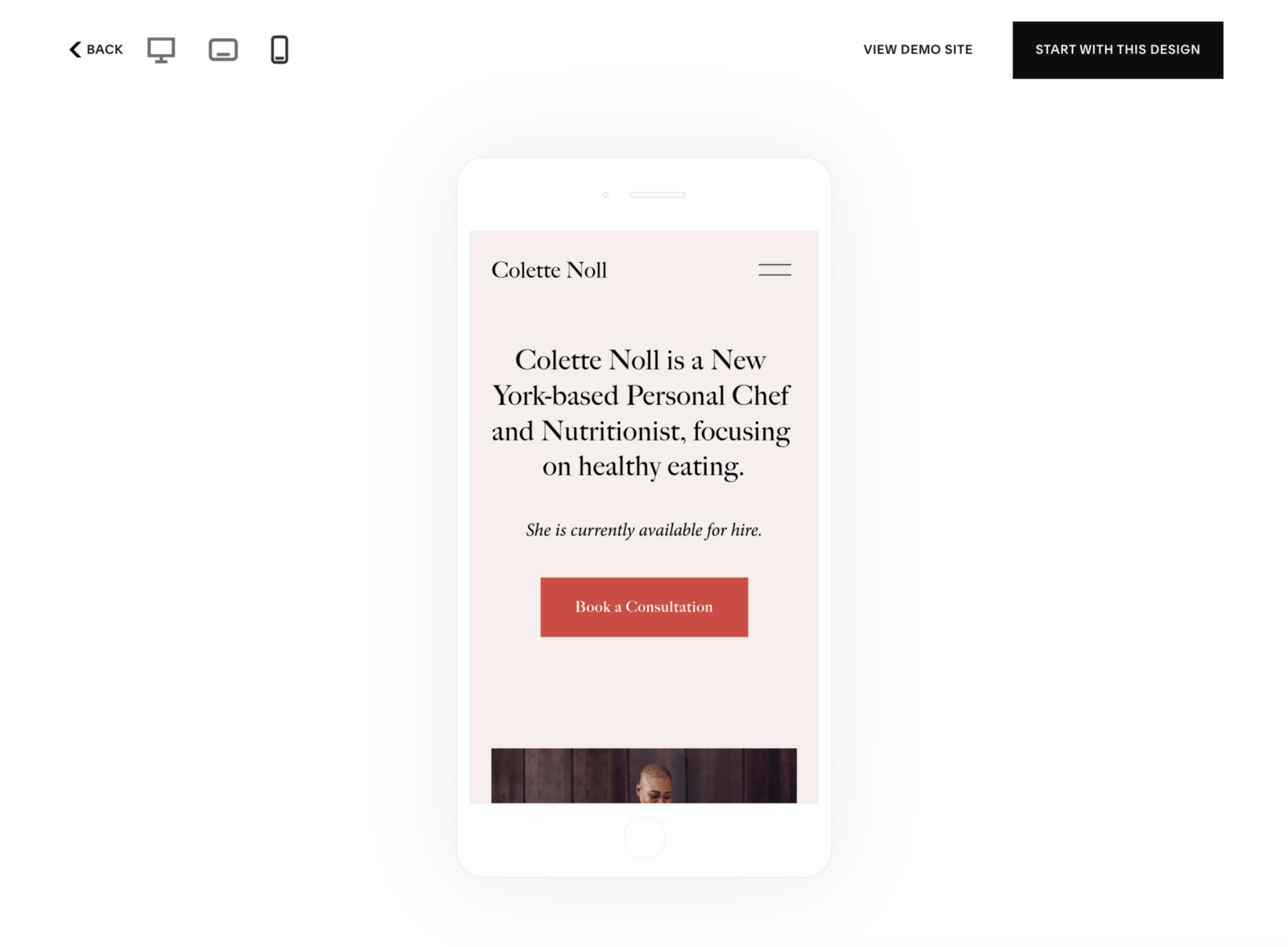 Previewing a Squarespace template for mobile (source: Squarespace)