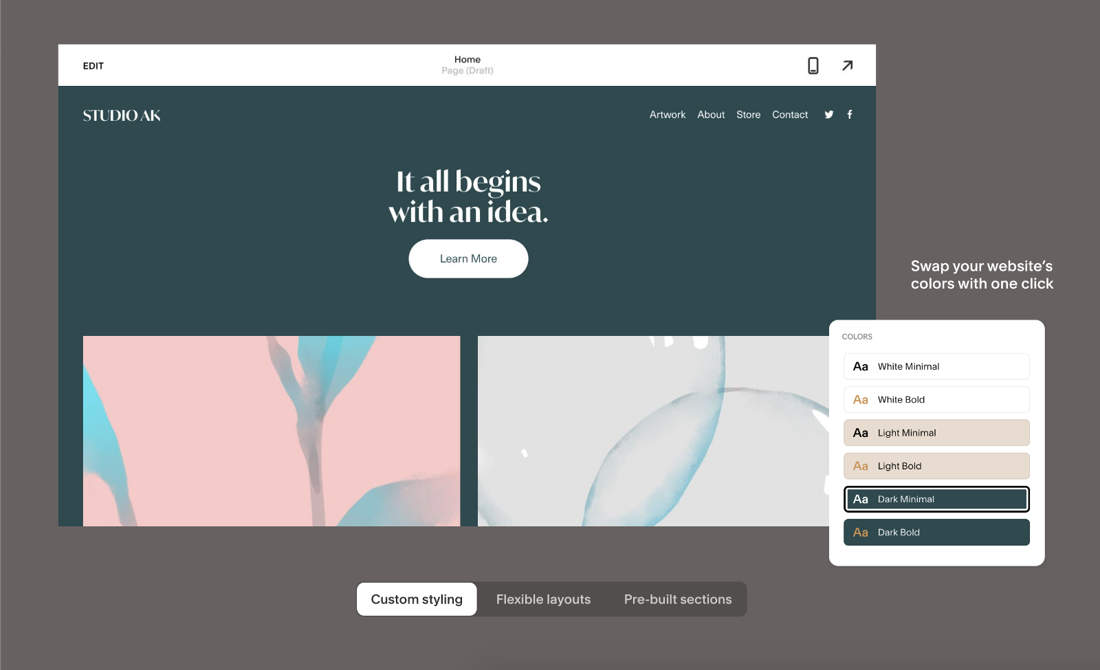 Customize colors and typography for Squarespace templates (source: Squarespace)