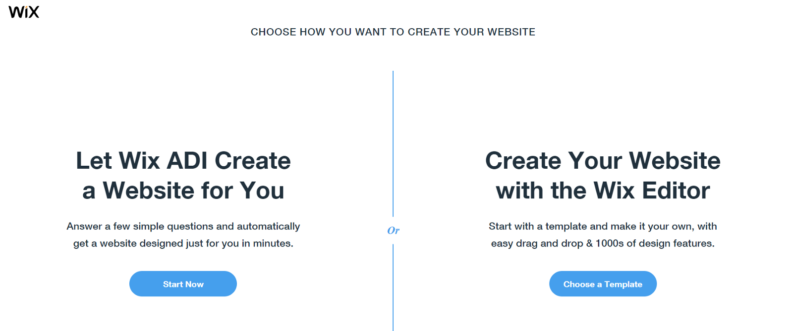 Start with a template or use Wix ADI to create your website (source Wix.com)