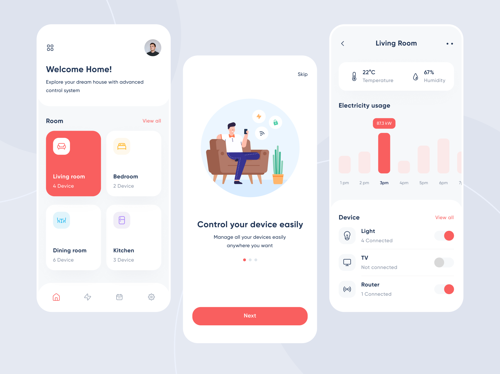 Example of using red selectively in app design (source: Sayyid Ahsan)