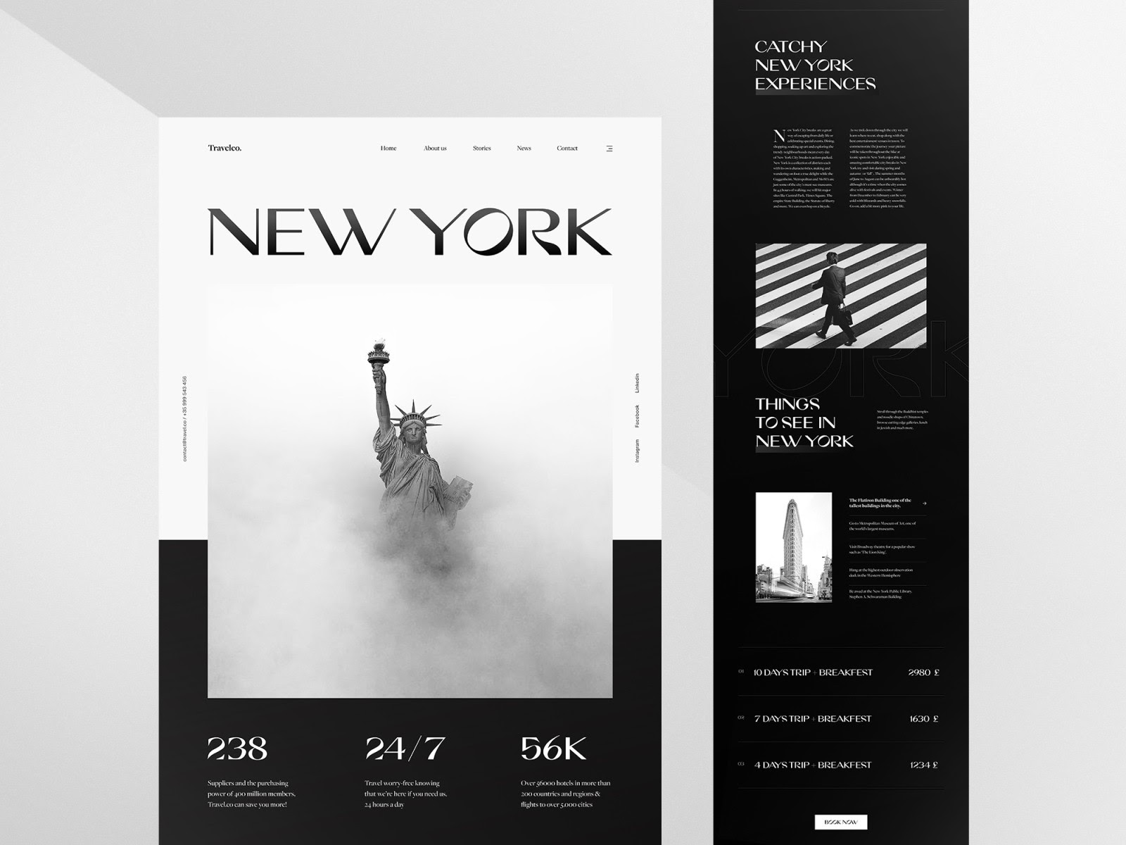 An example of using black as a strong accent color in web design (source: Achraf Elkaami)