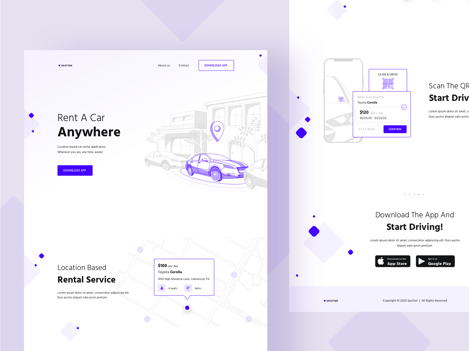 An example of using purple as an accent color in web design (source: Karin)