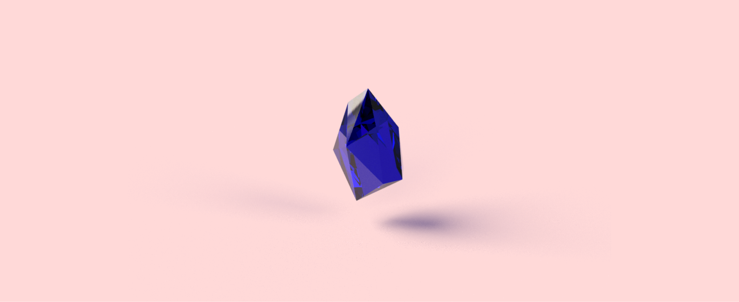 A purple crystal on a solid pink background