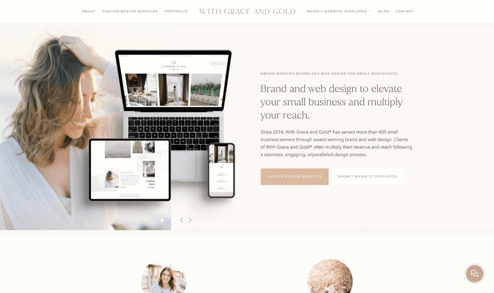 A screenshot of a boutique branding and web design studio called With Grace and Gold.