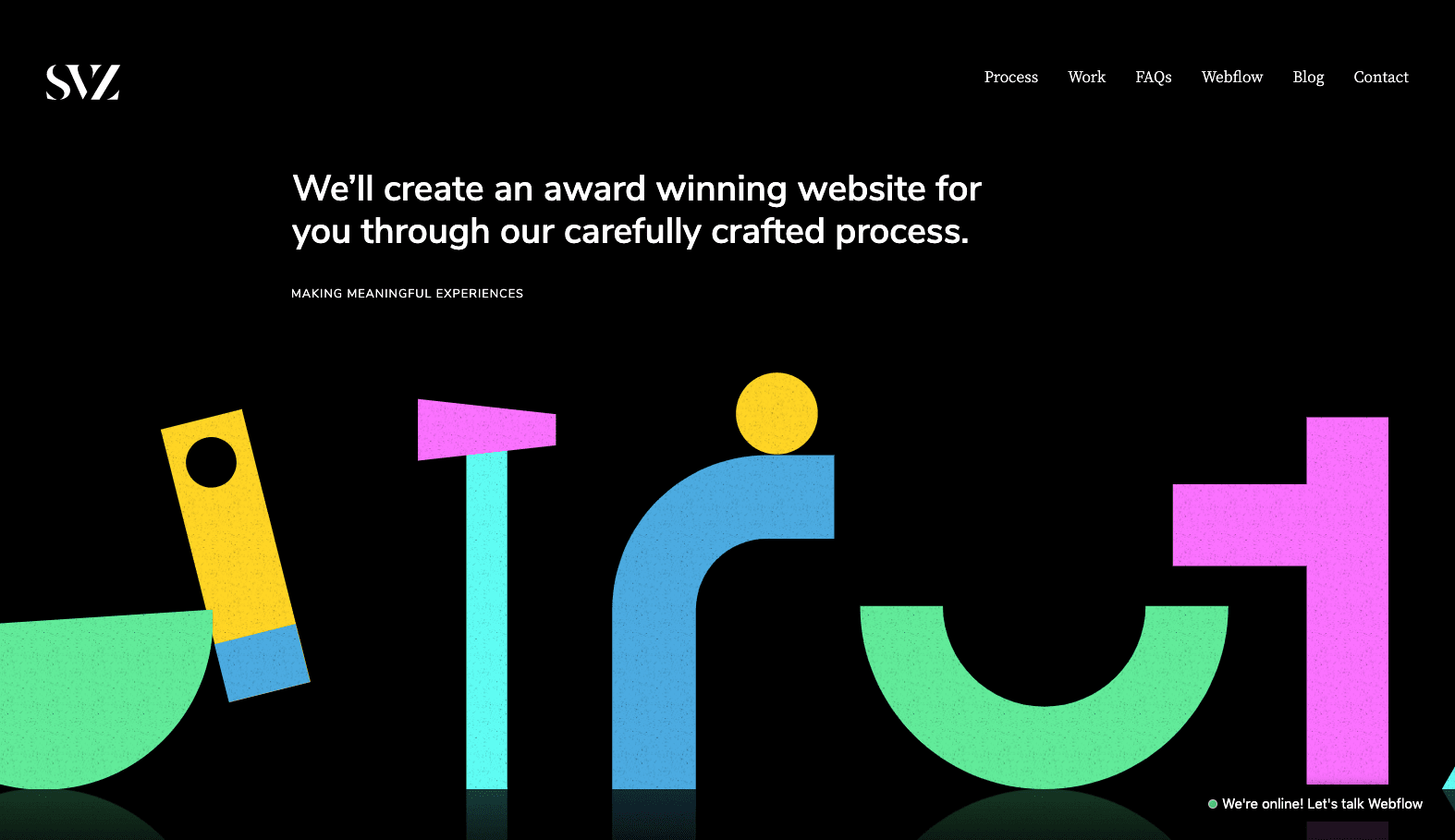 A screenshot of SVZ's awesome agency website
