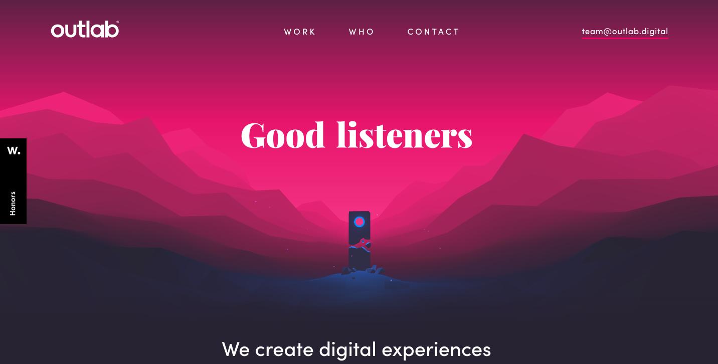 A screenshot of Outlab's portfolio website (pink and blue)