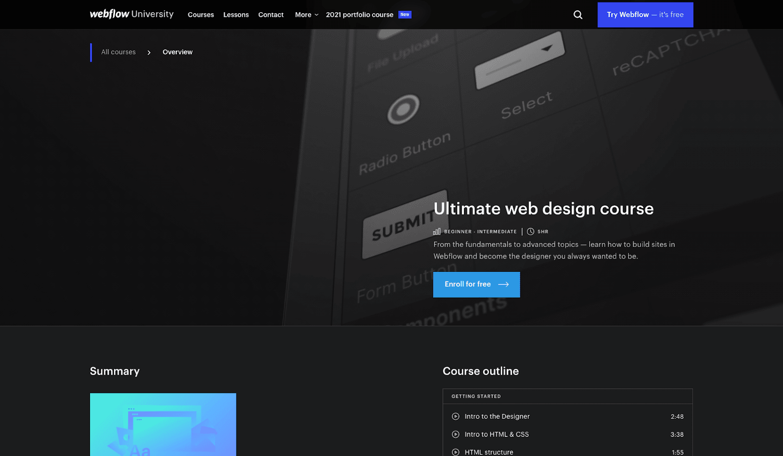 A screenshot of Webflow's website. Their free web design course page