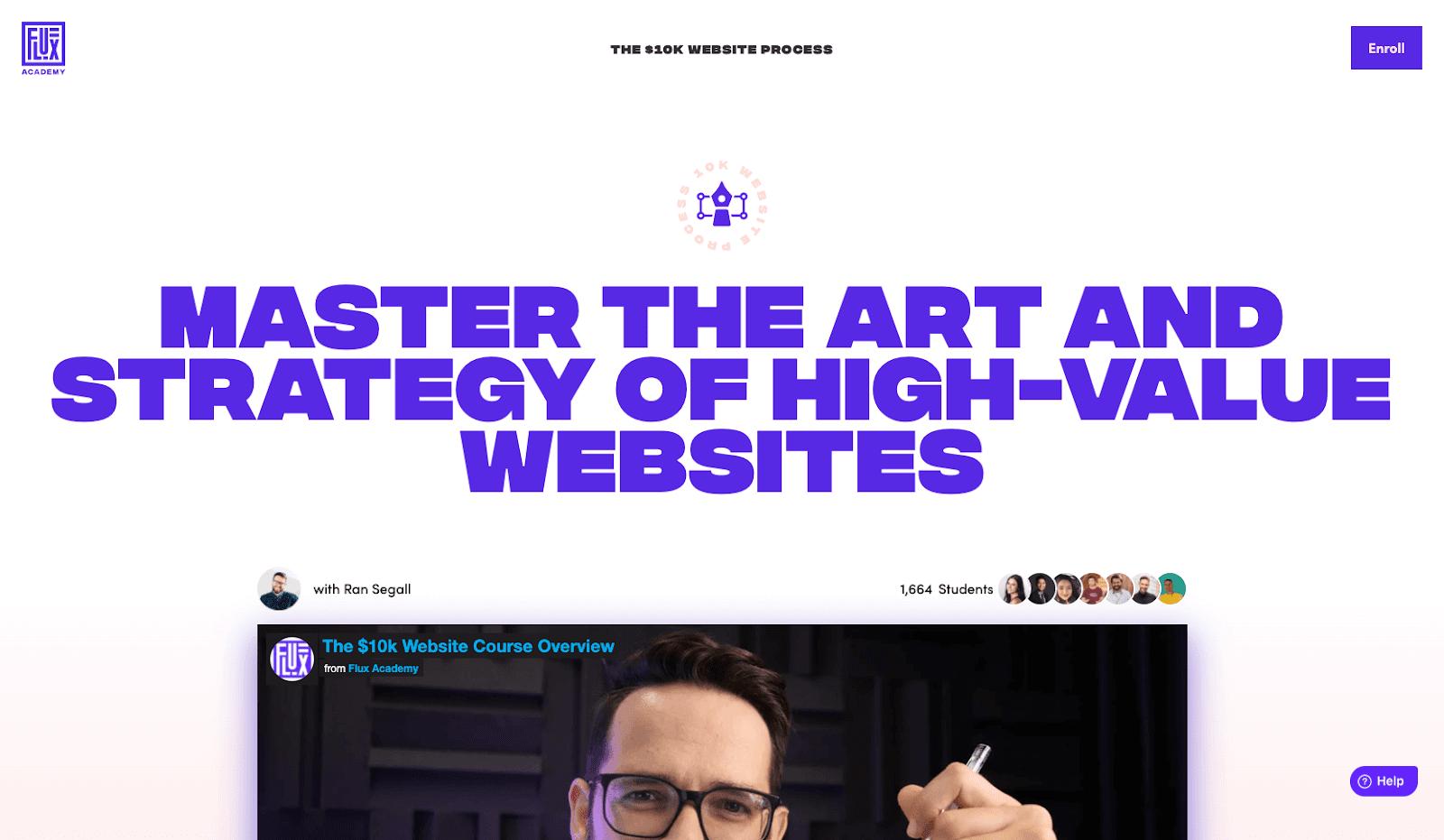 A screenshot of Flux Academy's website