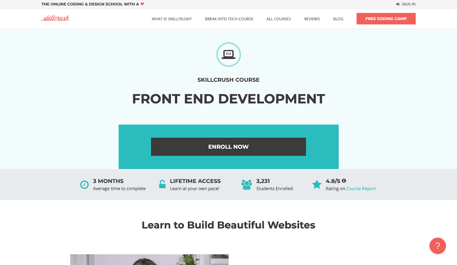 A screenshot of Skillcrush's website