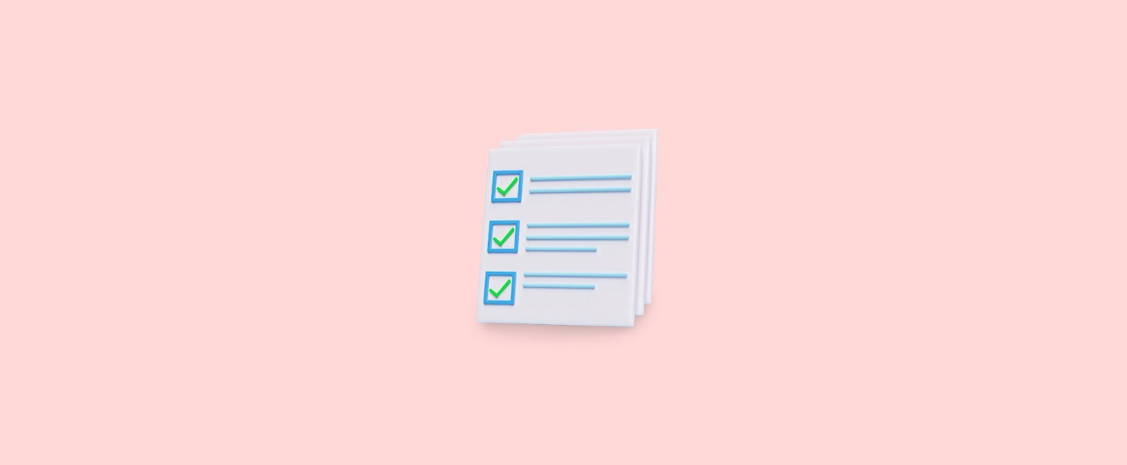 A stack of papers with checklists on them on a pink background