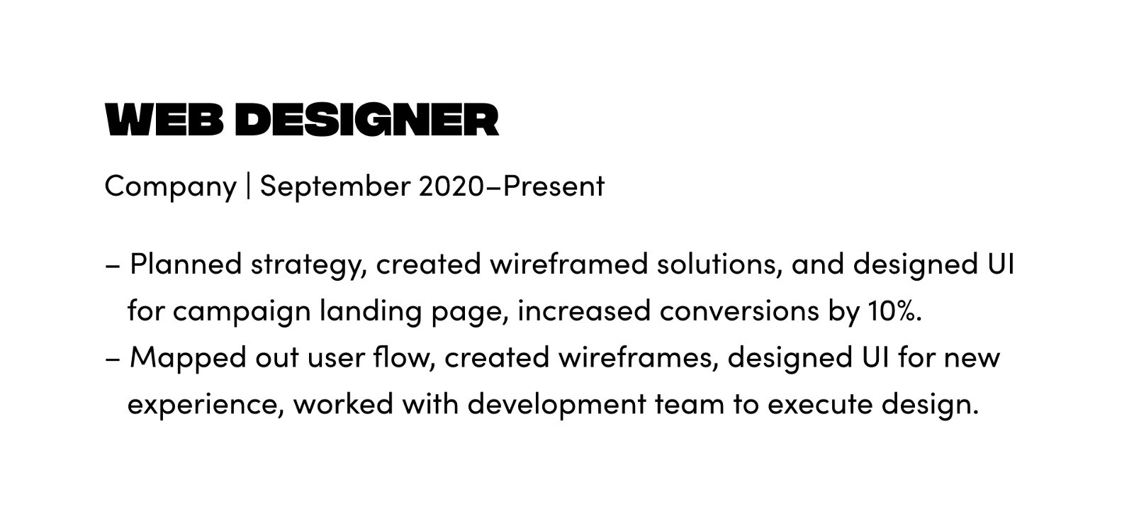 Example of how to format and write your experience for a freelance design job.