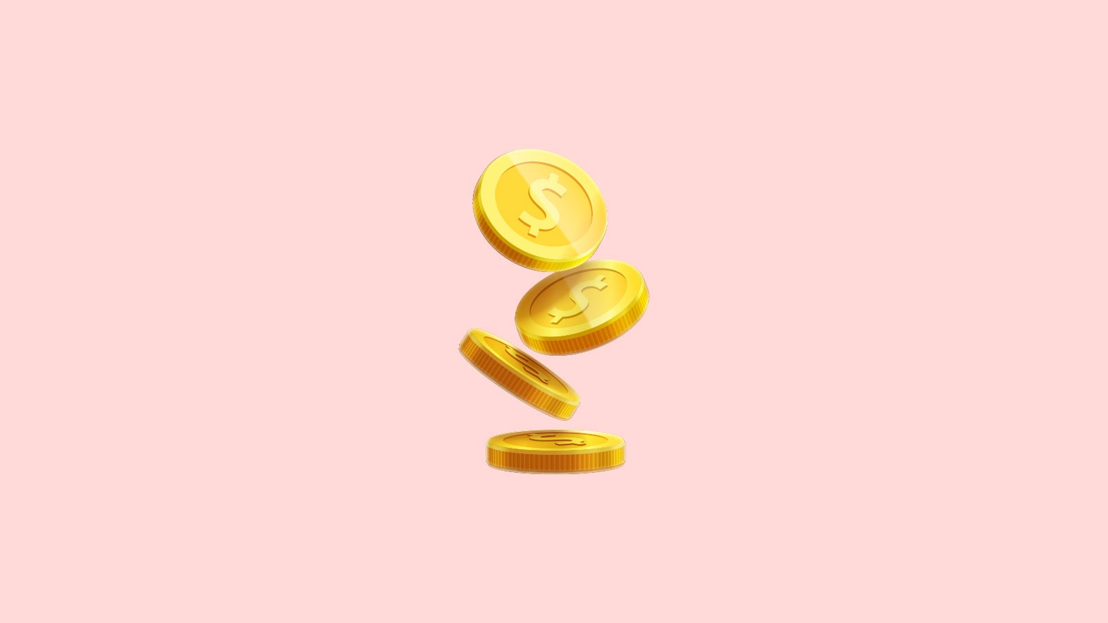 3D coins on a pink background