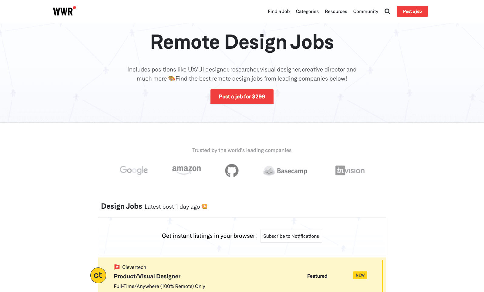 A screenshot of We Work Remotely's website