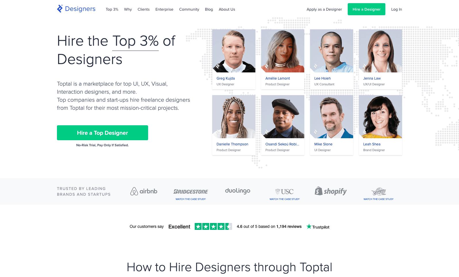 A screenshot of Toptal's website