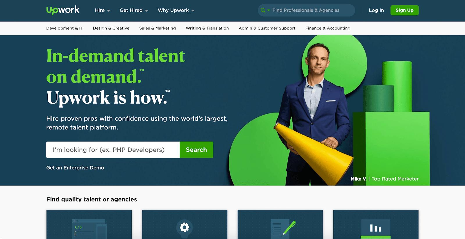 A screenshot of Upwork's website